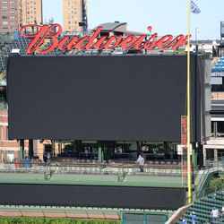 4:15 p.m. The right field video board goes black -