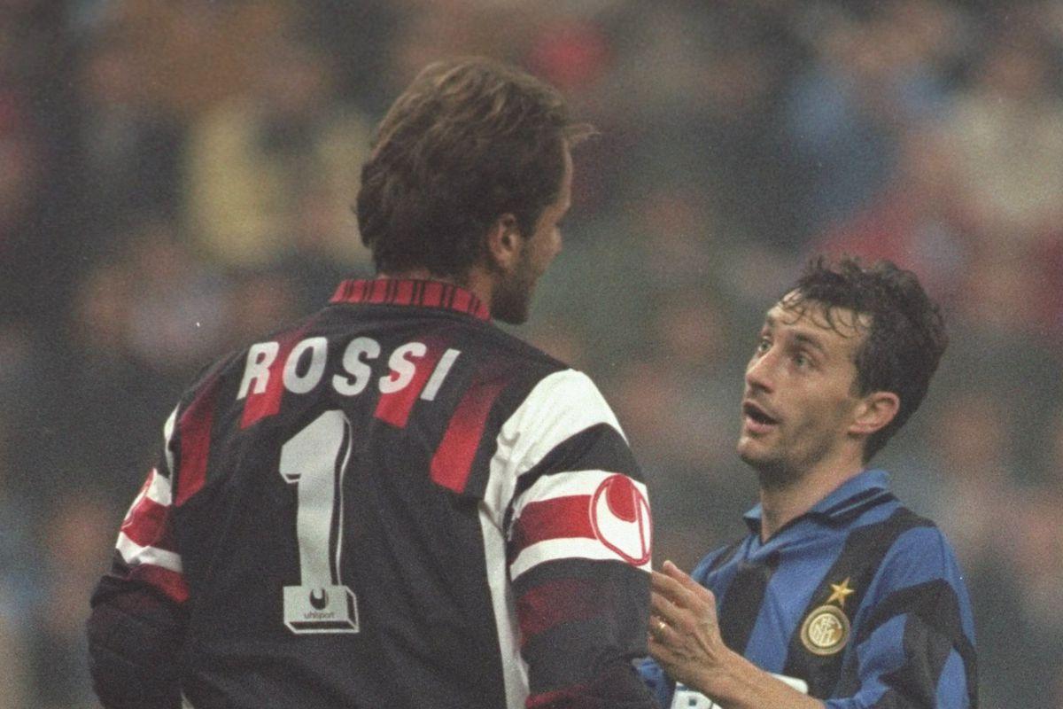 Sebastiano Rossi of AC Milan and Maurizio Ganz of Inter Milan
