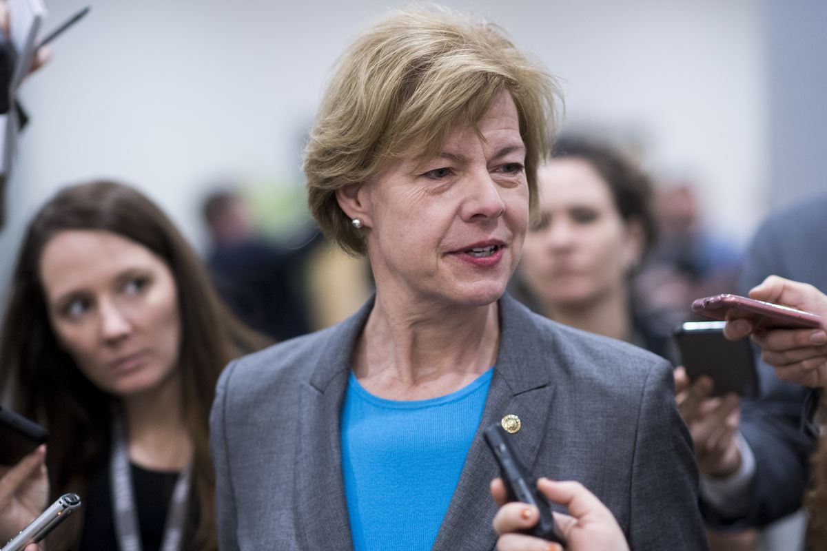 Sen. Tammy Baldwin (D-WI) speaks with reporters outside the Capitol.