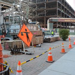 11:32 a.m. Part of the Waveland Avenue sidewalk blocked off, for lumber needed for the excavation -