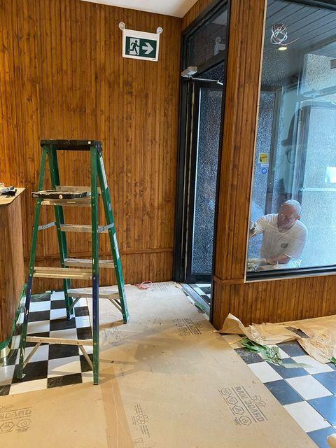 checkered floor restaurant under construction