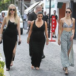 Khloe Kardashian, Kim Kardashian West, and Kendall Jenner in St. Barts