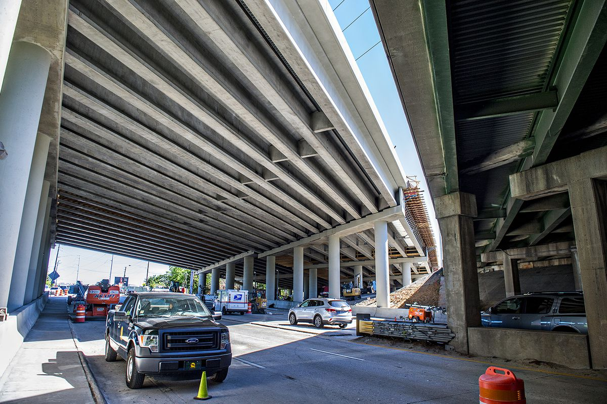 A photo this week of the undersides of Ga. Highway 13 (right) and I-85 at Piedmont Road as construction continues.