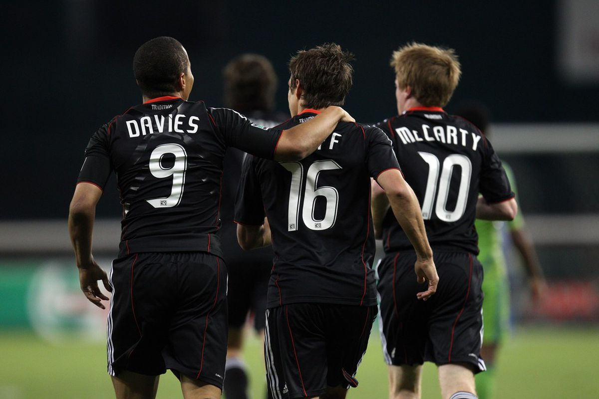 WASHINGTON, DC - MAY 4: Charlie Davies #9 and Josh Wolff #16 of D.C. United celebrate after a goal against the Seattle Sounders at RFK Stadium on May 4, 2011 in Washington, DC. (Photo by Ned Dishman/Getty Images)