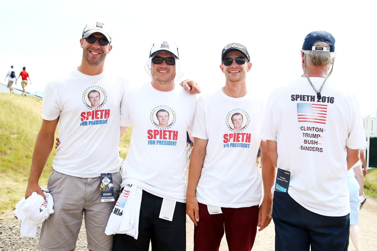 pga fans are wearing  u0026 39 spieth for president u0026 39  shirts at