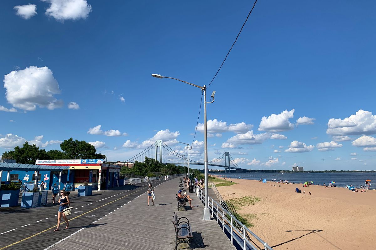 The U.S. Army Corps of Engineers plans to build a buried Seawall along Staten Island's South Beach boardwalk, July 14, 2020.