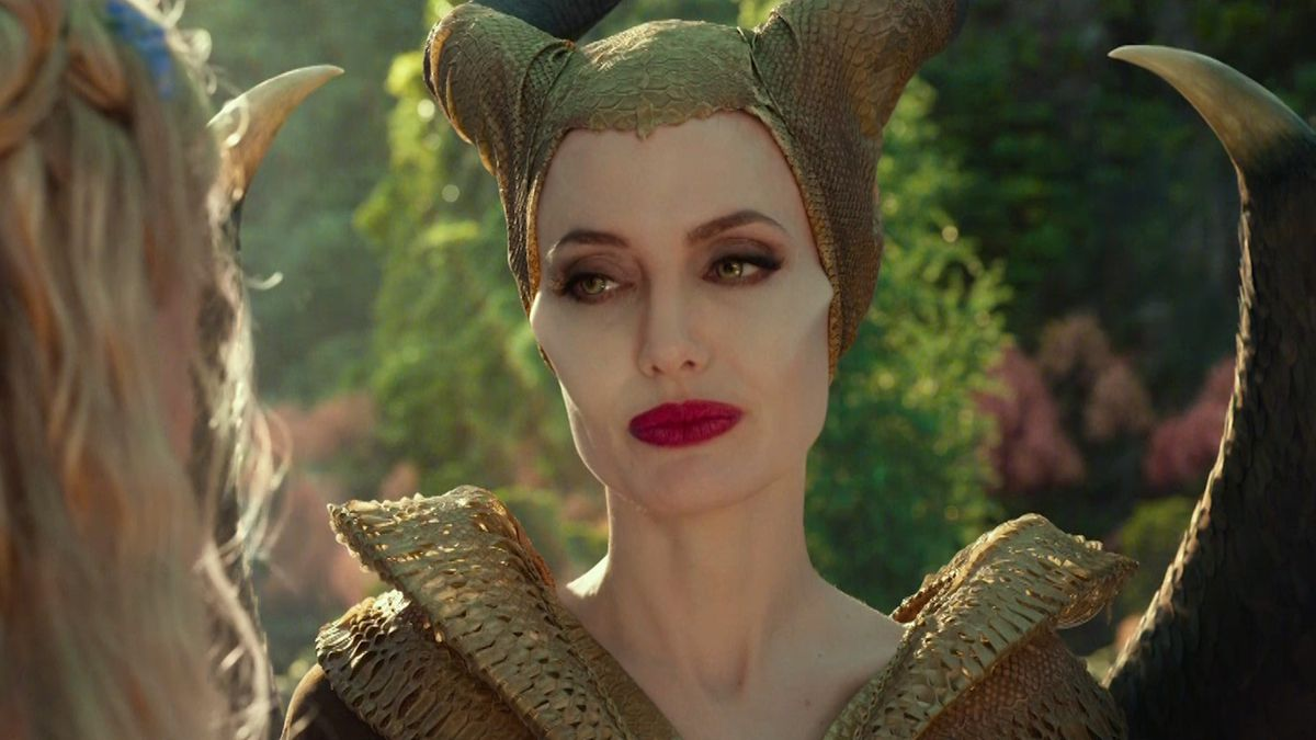 Jolie as Maleficent, though in a gold outfit instead of a black one.