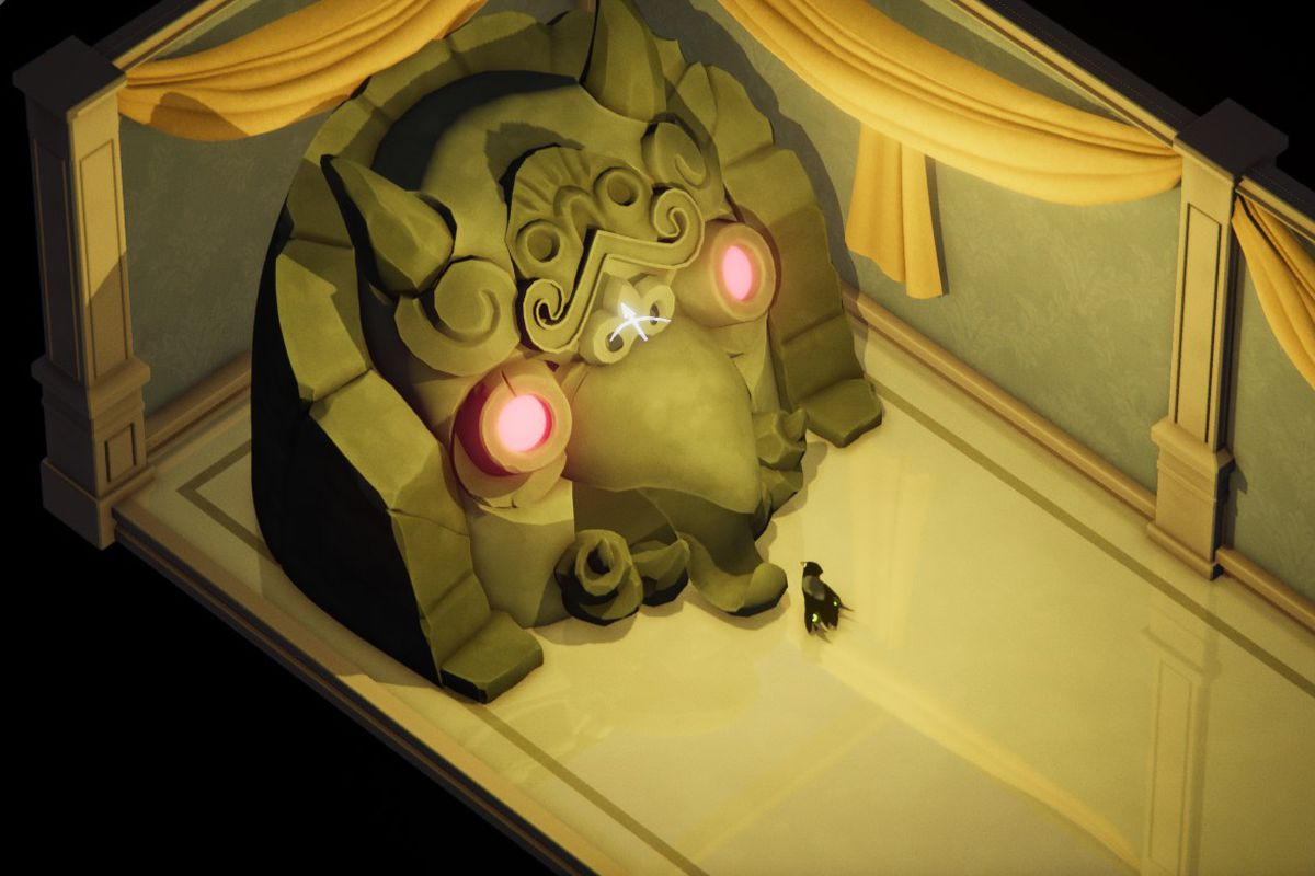 A small crow stands in front of a glowing shrine of a demon head with red eyes.