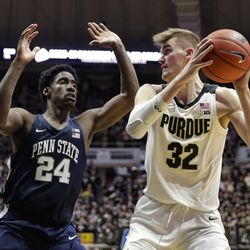 Purdue center Matt Haarms (32) shoots over Penn State forward Mike Watkins (24) during the second half of an NCAA college basketball game in West Lafayette, Ind., Tuesday, Feb. 11, 2020. Penn State defeated Purdue 88-76.