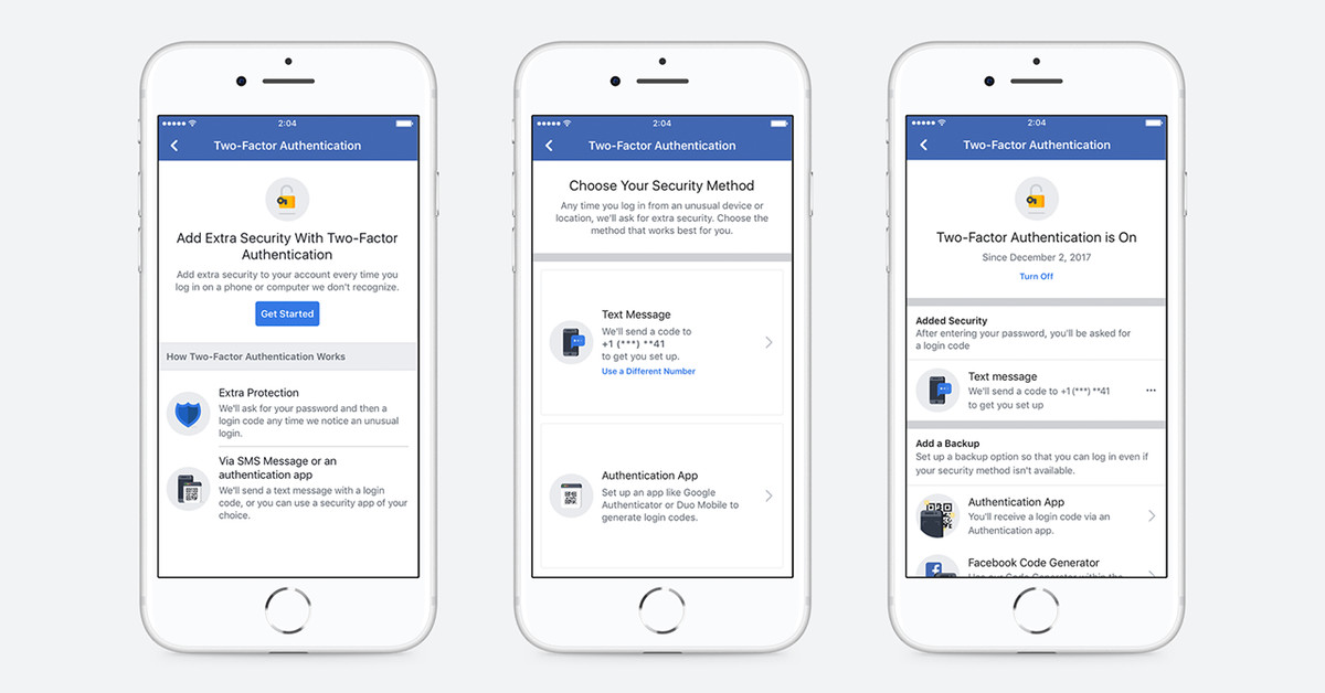 Facebook's new two-factor authentication process no longer requires a phone number