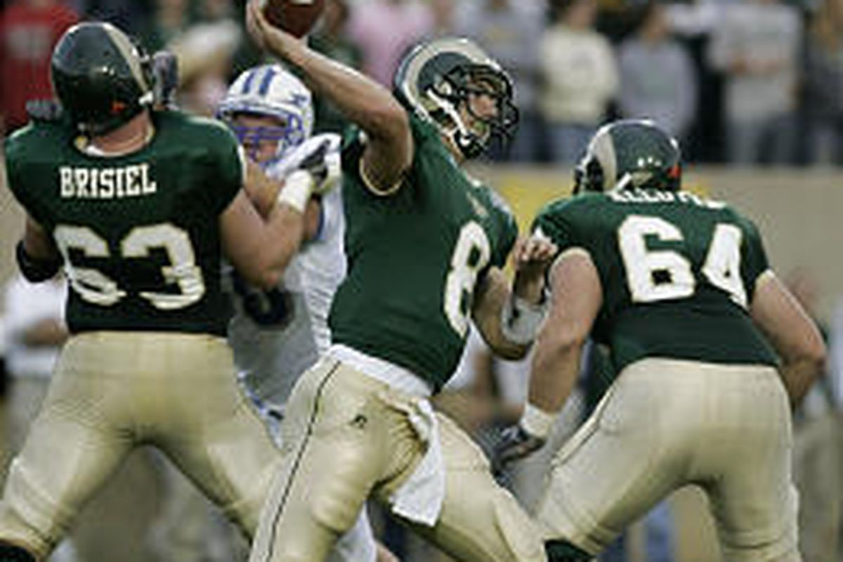 Colorado State quarterback Justin Holland (8) fires a pass in Rams' 41-23 victory over Air Force Thursday.
