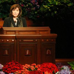 Carole M. Stephens, first counselor in the Relief Society General Presidency, speaks at the General Relief Society Meeting at the Conference Center on Temple Square in Salt Lake City on Saturday, Sept. 29, 2012.