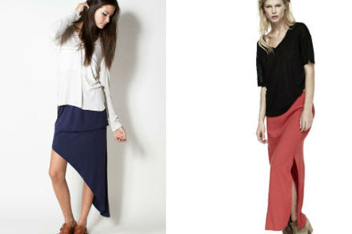 """<a href=""""http://www.lnaclothing.com//DOUBLE-SLANT-SKIRT-at-PID23138-RW1111.aspx"""">Double slant skirt</a> for $70.50 (instead of $99), and <a href=""""http://www.lnaclothing.com//RELAXED-COLUMN-SKIRT-at-PID23015-HW1131.aspx"""">Column skirt</a> for $70.50 ("""