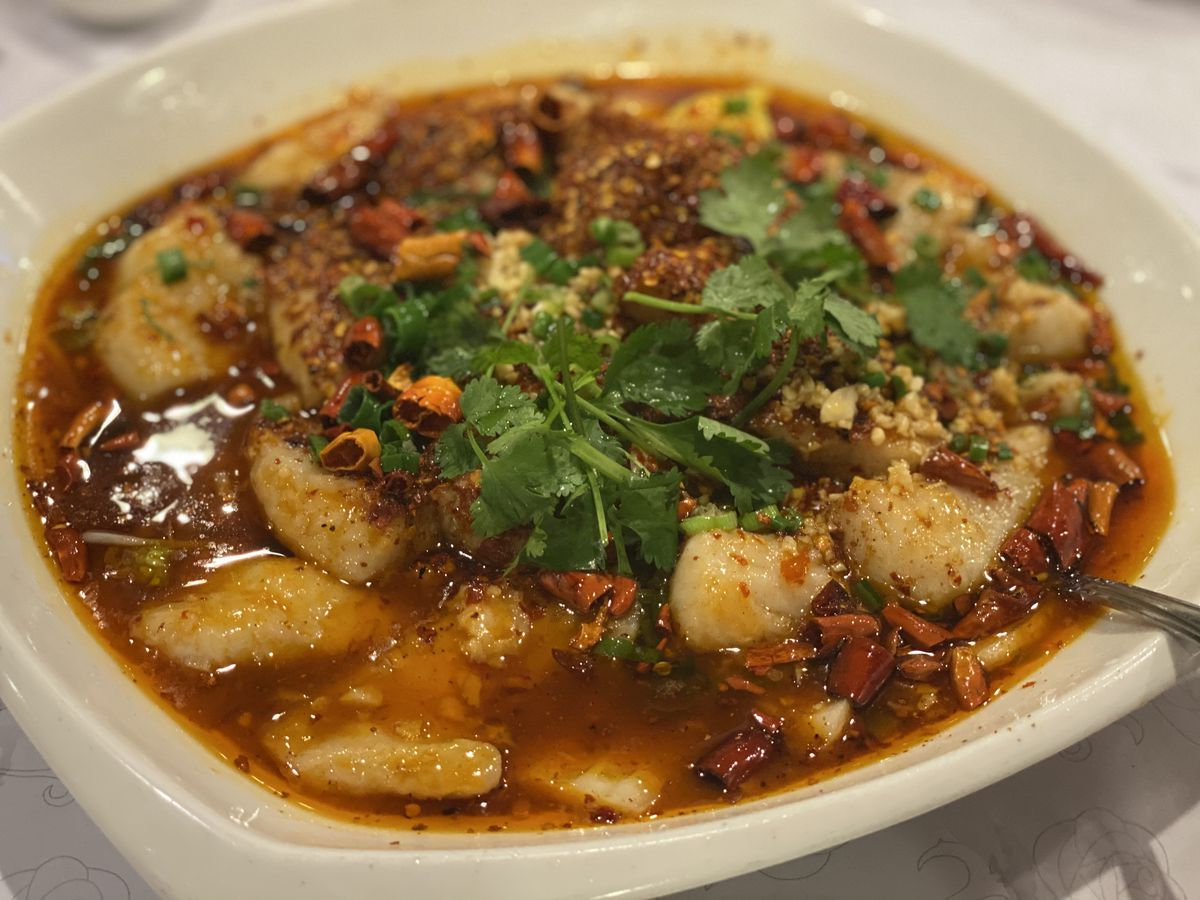 Water-boiled fish at Sichuan Style