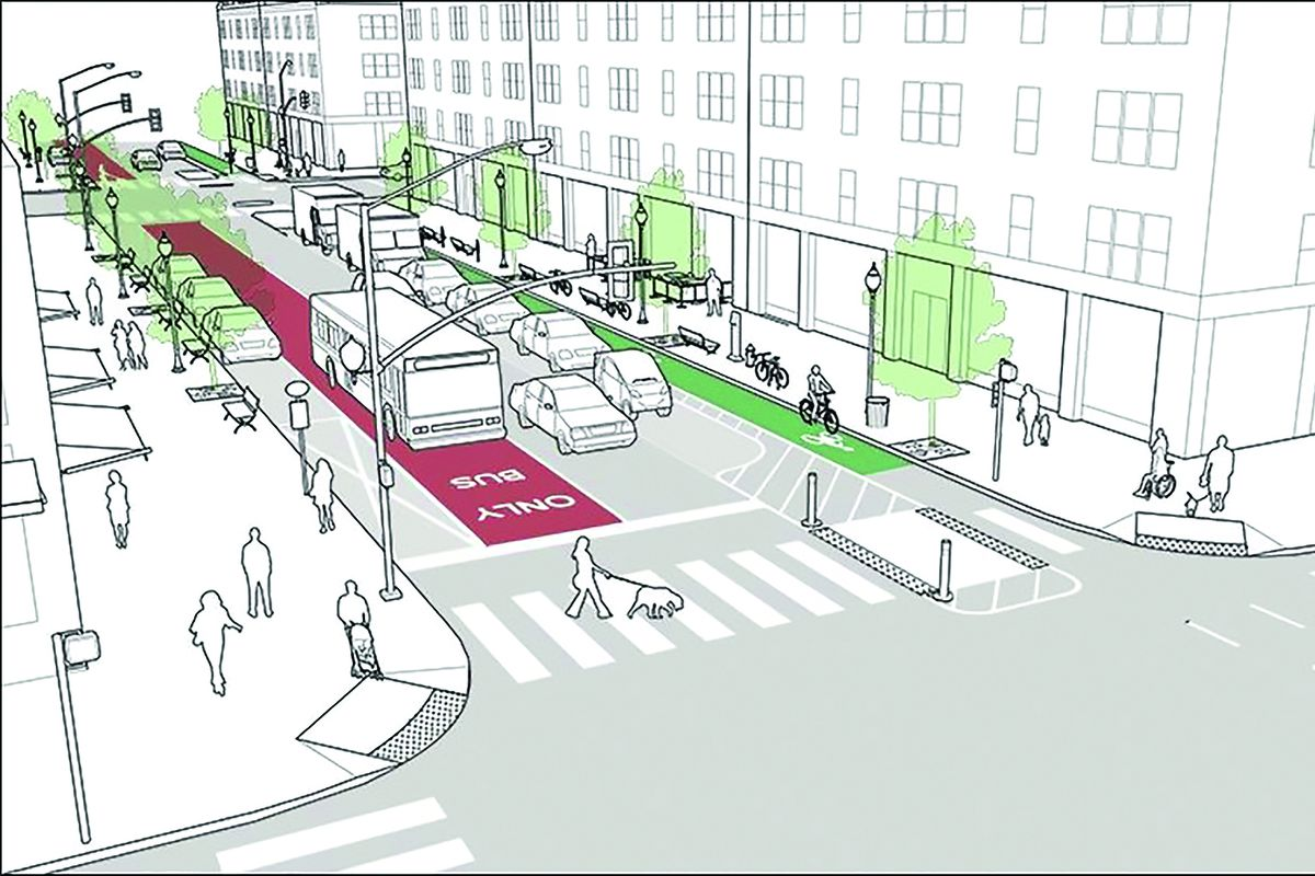 Rendering of a new bike lane in downtown Miami