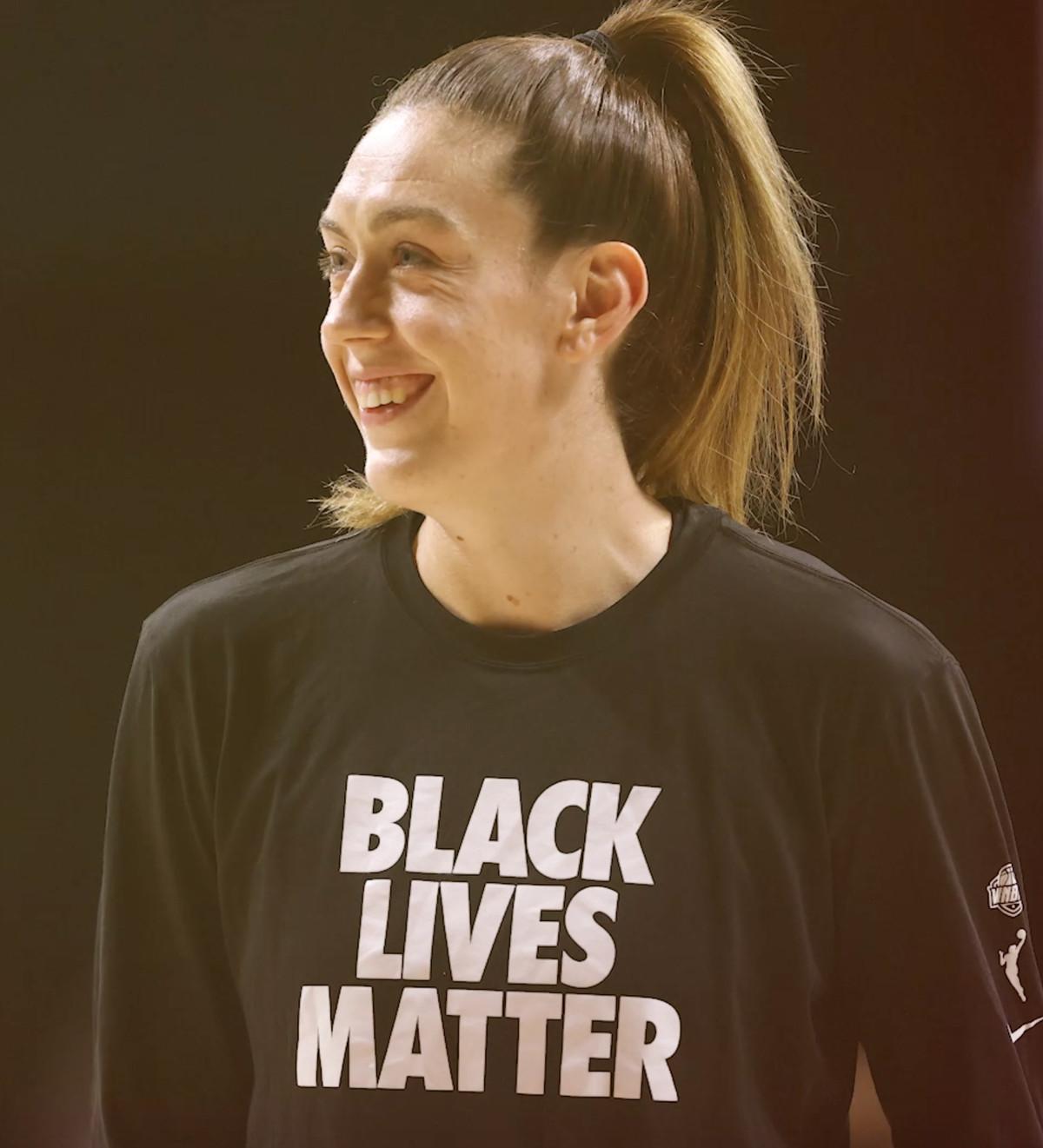 Breanna Stewart wore a Black Lives Matter shirt.