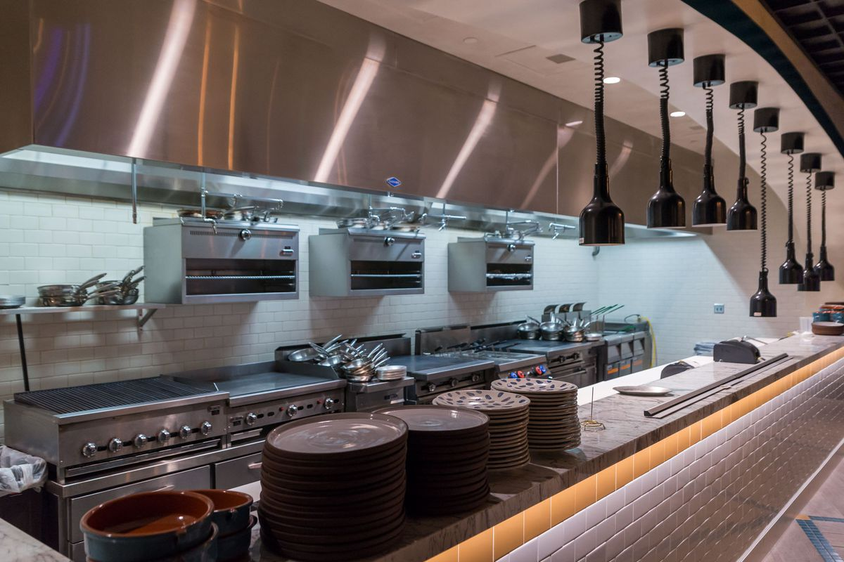 The open kitchen at Osteria Costa