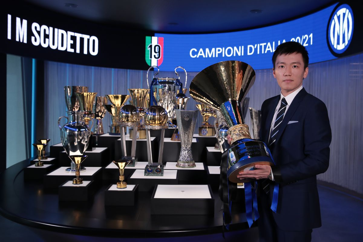 2020/21 Serie A Trophy Is Displayed At FC Internazionale's Headquarters