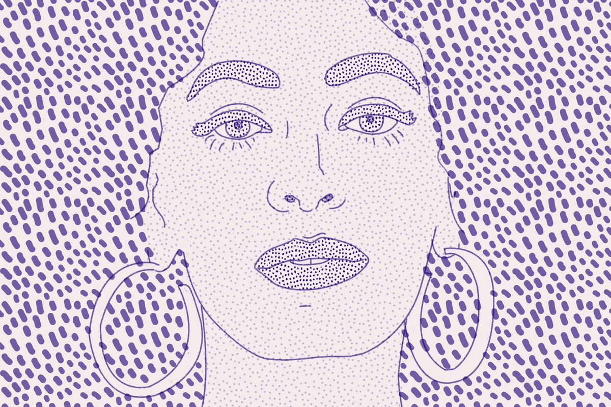 Purple-and-white pointillism-style illustration of Solange Knowles