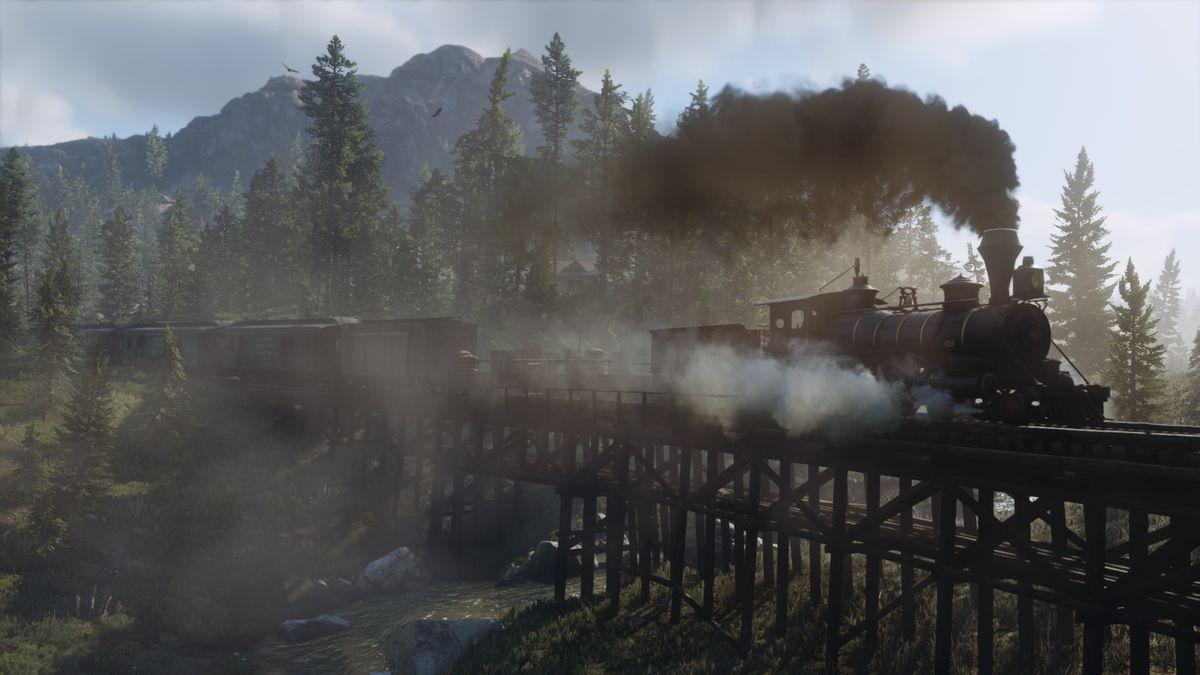 Red Dead Redemption 2 - steam train going across railroad bridge