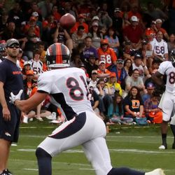 Broncos TE Joel Dreessen looks to make a catch during the WR endzone drills