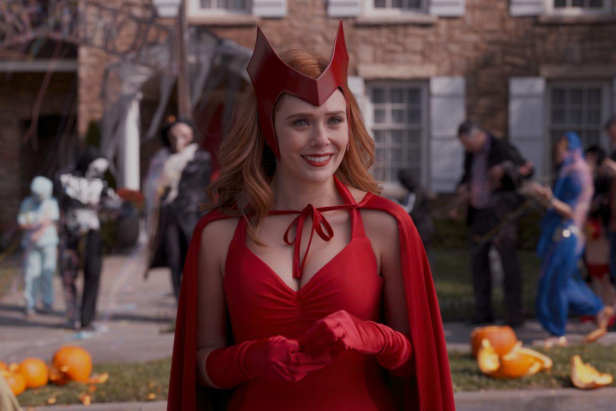 Wanda Maximoff in her Scarlet Witch halloween costume on WandaVision