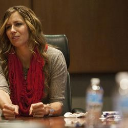 """Olympic silver medalist Noelle Pikus-Pace answers questions during a small group discussion about her new book, """"Focused: Keeping Your Life on Track, One Choice at a Time,"""" at Deseret Book corporate headquarters, Tuesday, Sept. 9, 2014."""
