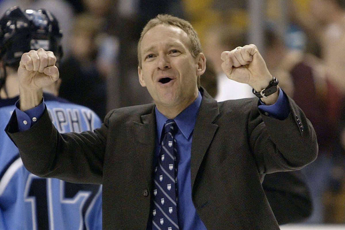 Tim Whitehead celebrates Maine defeating UMass-Amherst in triple OT in the 2004 Hockey East Finals.