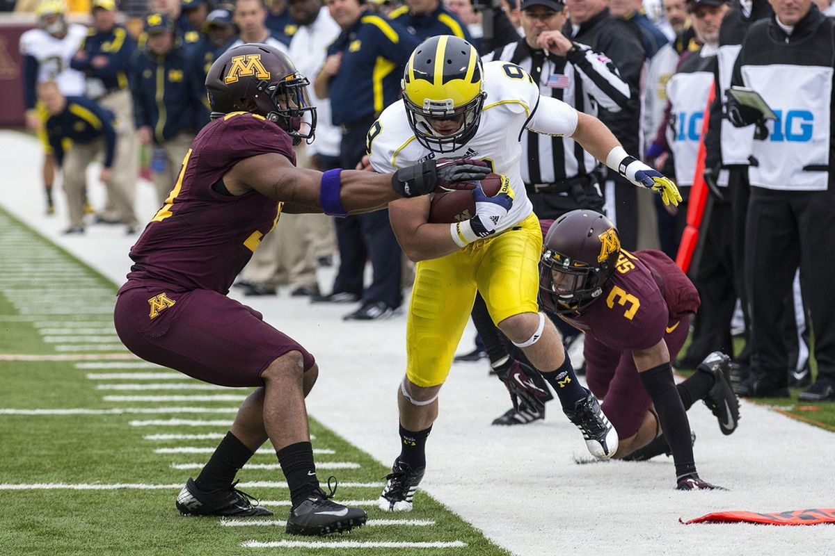 Nov 3, 2012; Minneapolis, MN, USA: Michigan Wolverines wide receiver Drew Dileo (9) runs for a first down before getting pushed out of bounds by Minnesota Golden Gophers defensive back Cedric Thompson (27) at TCF Bank Stadium.