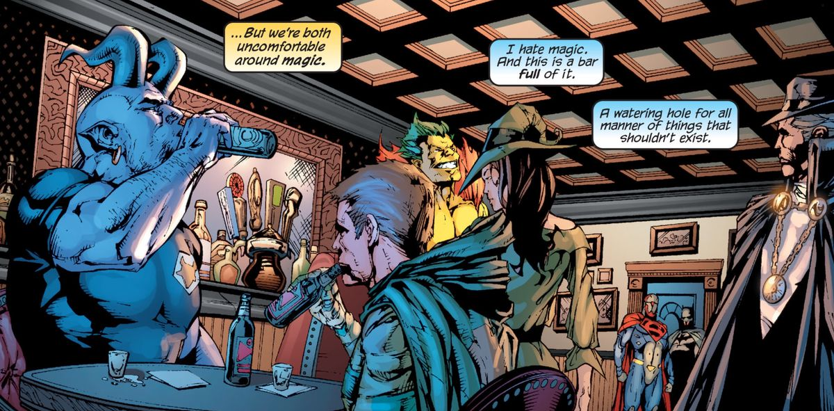 Blue Devil, the Creeper, Enchantress, the Phantom Stranger, and others look up as Superman and Batman enter Oblivion Bar, the gin joint for all the magic users in the DC Universe, in Superman/Batman # 46, DC Comics (2008).