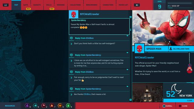 A screenshot of Twitter in <em>Spider-Man</em>.