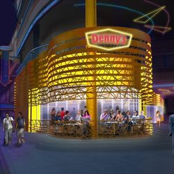 A rendering of Denny's by night.
