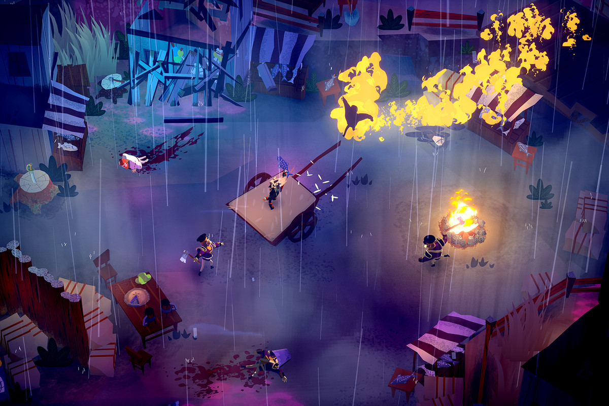 Bloodroots - a player uses fire and chaos to progress through a level