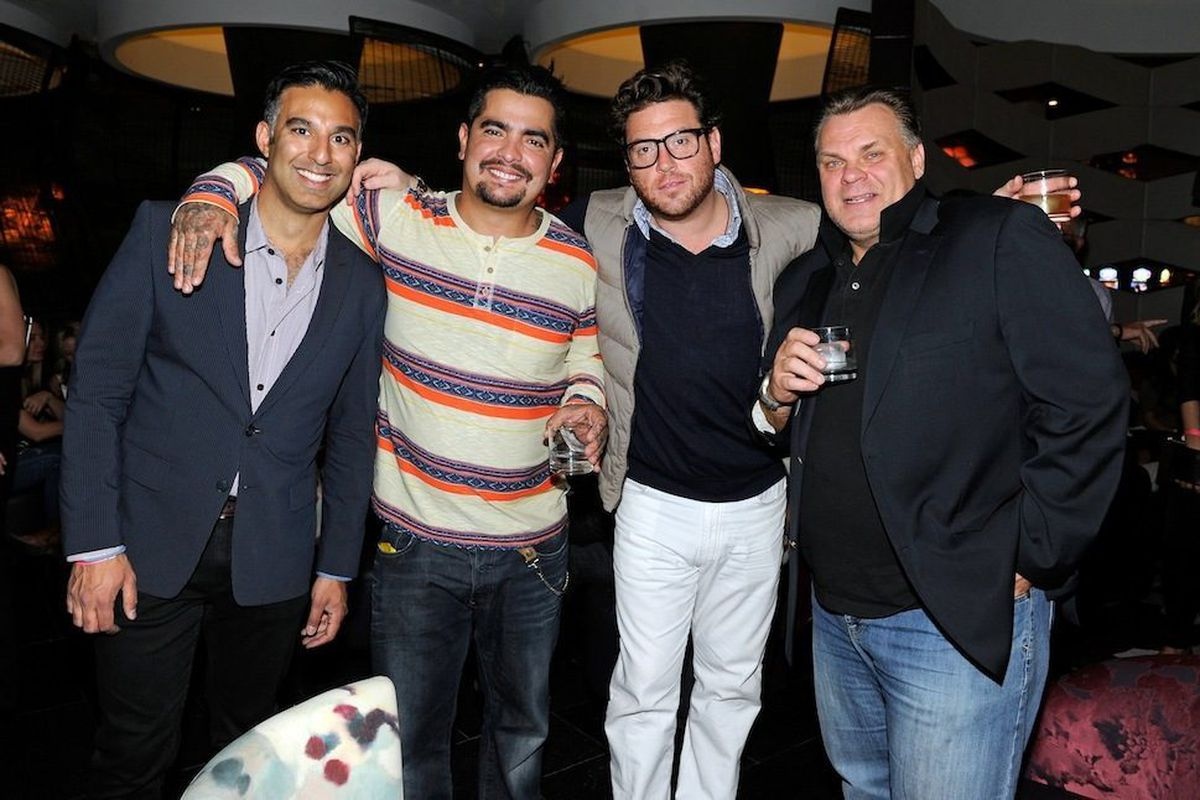 Rehan Choudry, Aarón Sanchez, Scott Contant and Francois Payard at Nobu. Photo: David Becker