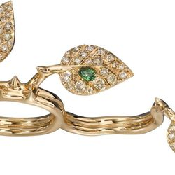 """Daniel-Philip Belevitch <a href=""""http://www.stoneandstrand.com/rings/crows-nest-jewelry-double-finger-diamond-rose-leaf-ring"""">Double Finger Rose Leaf Ring</a>, $9,000"""