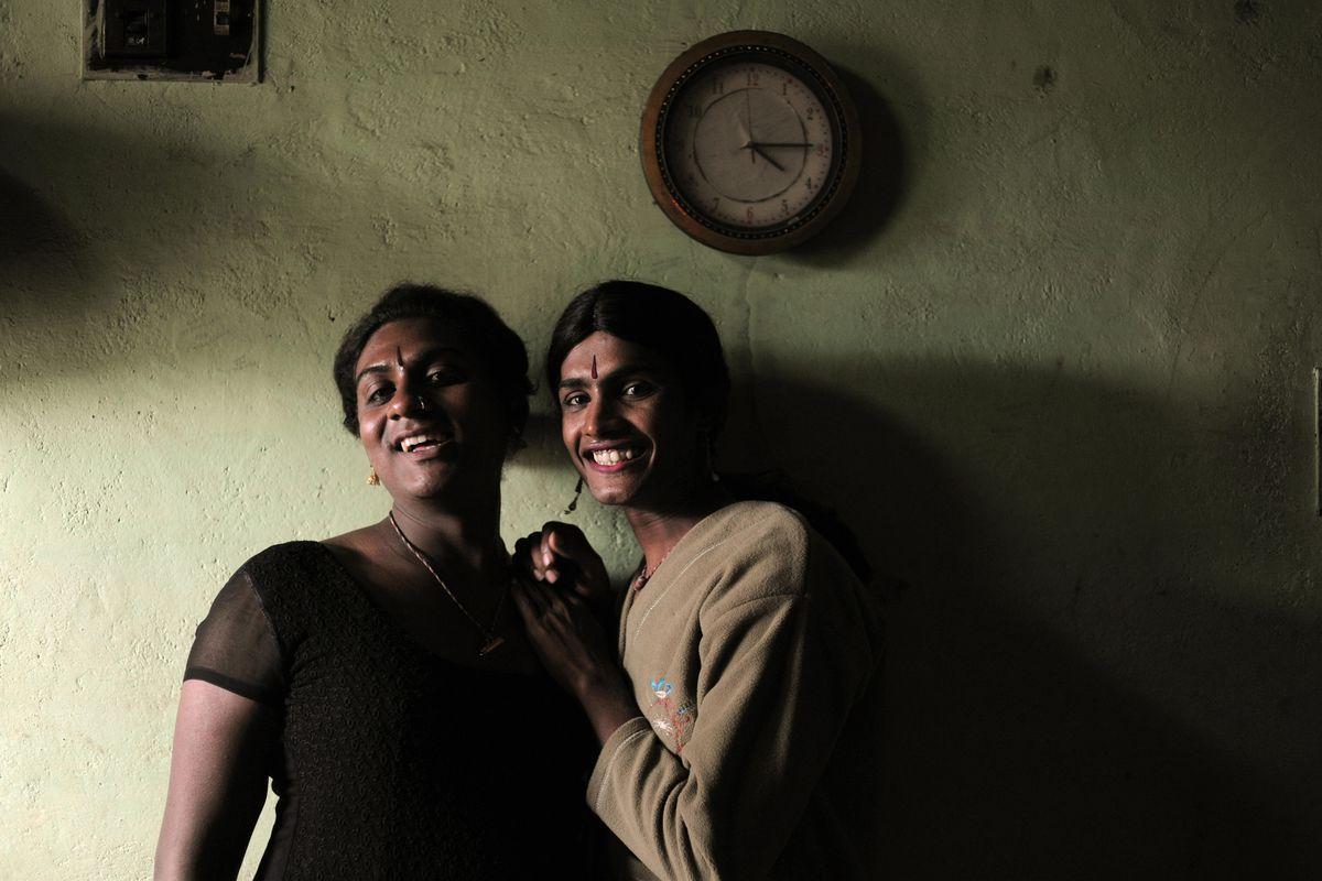 Members of India's hijra community pose.