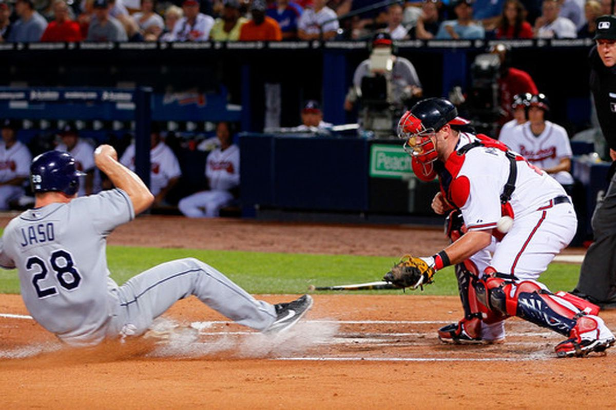 ATLANTA - JUNE 15:  John Jaso #28 of the Tampa Bay Rays slides safely into homeplate as Brian McCann #16 of the Atlanta Braves misplays the ball at Turner Field on June 15, 2010 in Atlanta, Georgia.  (Photo by Kevin C. Cox/Getty Images)