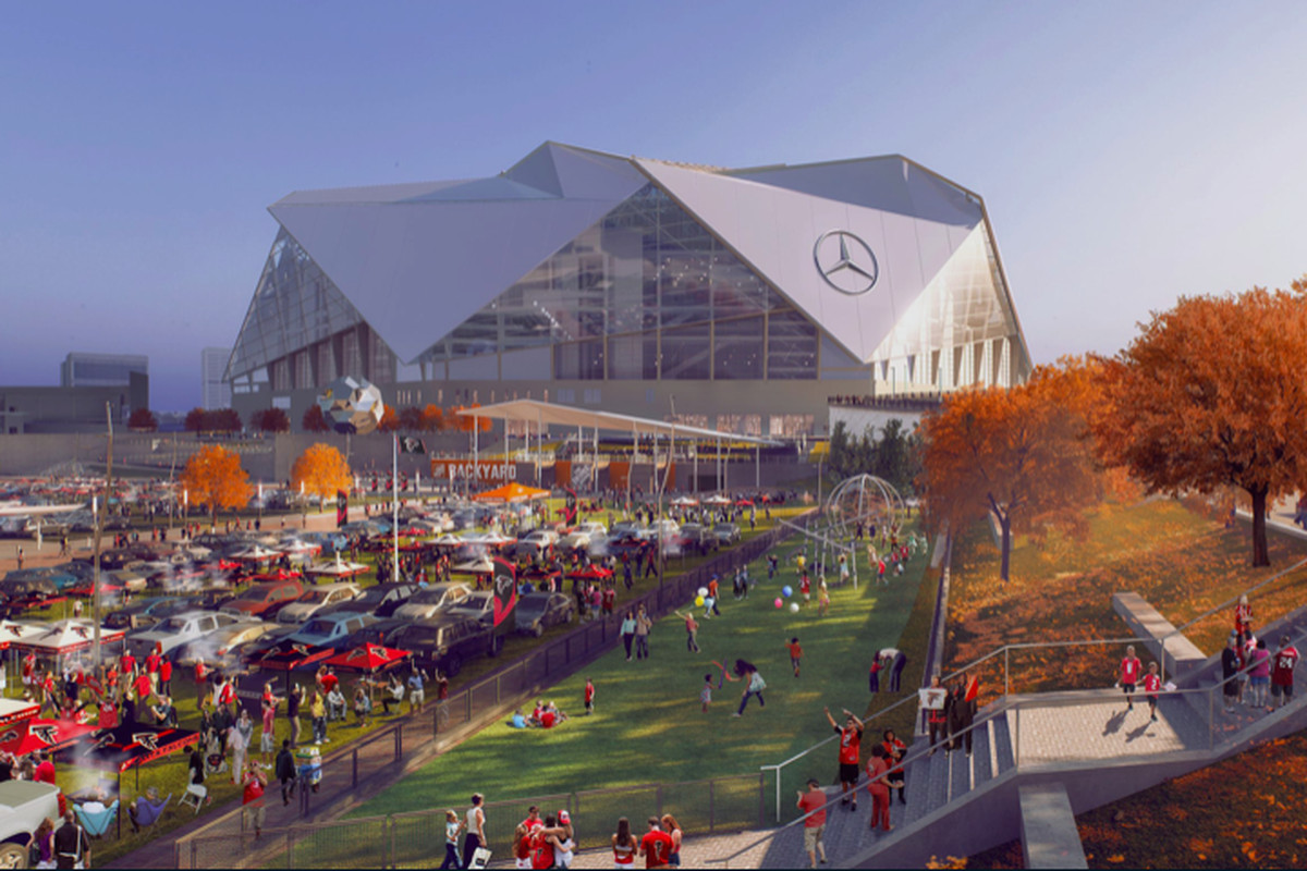 A rendering of the autumnal Falcons pre-party scene, plus a section for kids, as seen from the Northside Drive side.