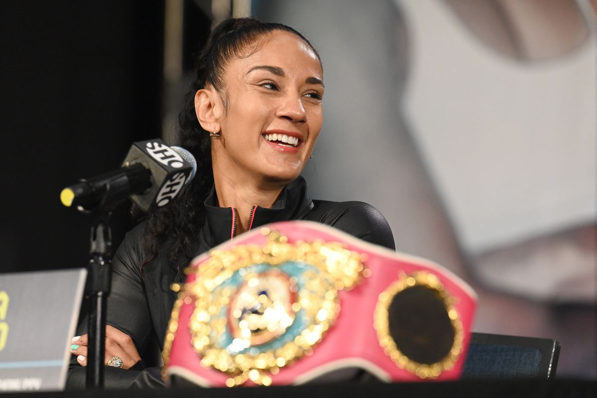 Amanda Serrano during the press conference for Paul vs. Woodley.