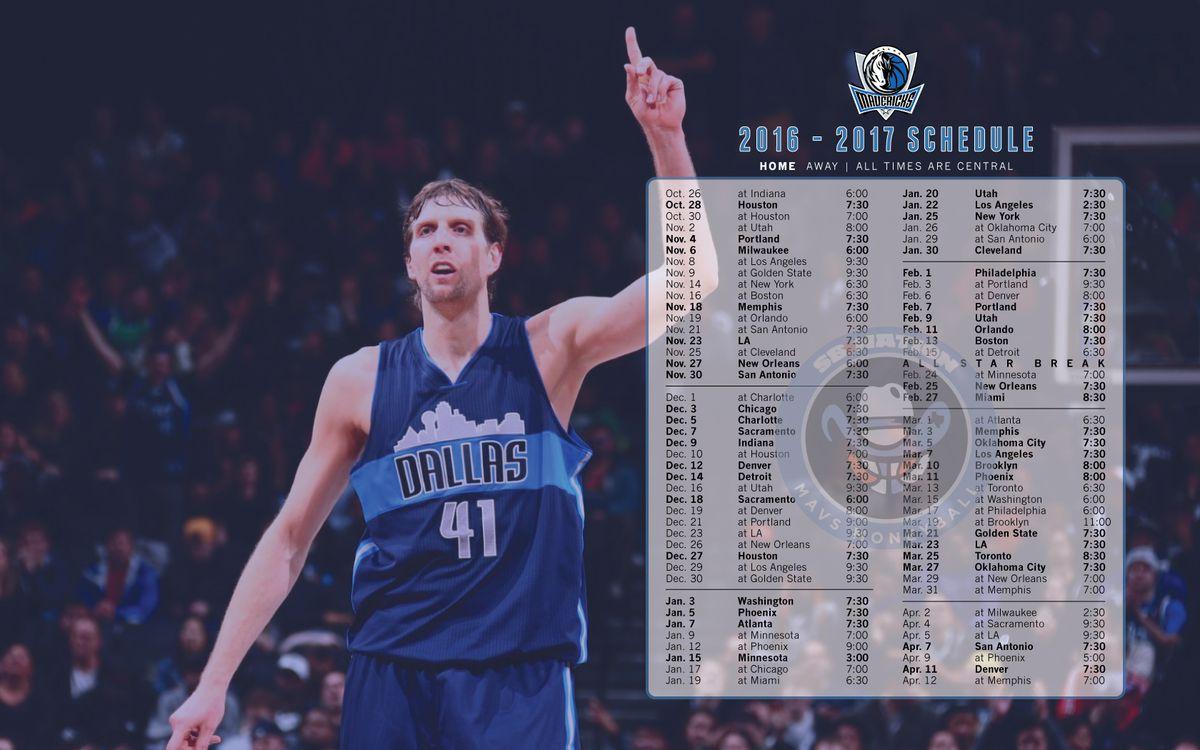 2016-2017 Mavs Schedule Wallpaper