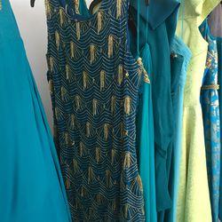 Gold-beaded teal dress, $100