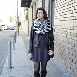 """Lex is just visiting San Francisco, but she owned the scarf/jacket/tights brunch combo. She's wearing sunglasses from <a href=""""http://feathersboutiquevintage.com"""">Feathers Boutique</a> in Austin, a dress and boots from Madewell, a jacket purchased at Arit"""
