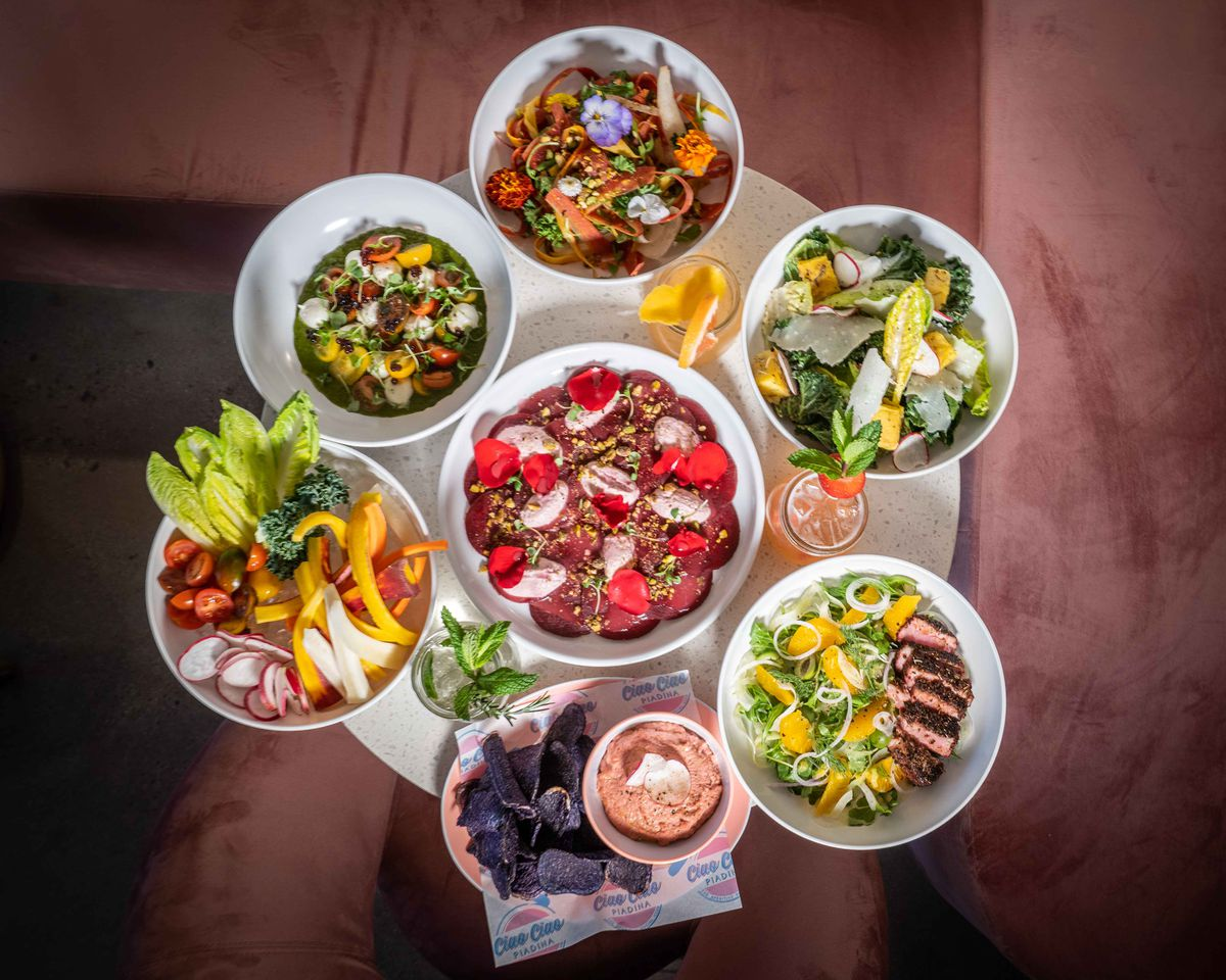 Assortment of salads and snacks from Ciao Ciao Piadina