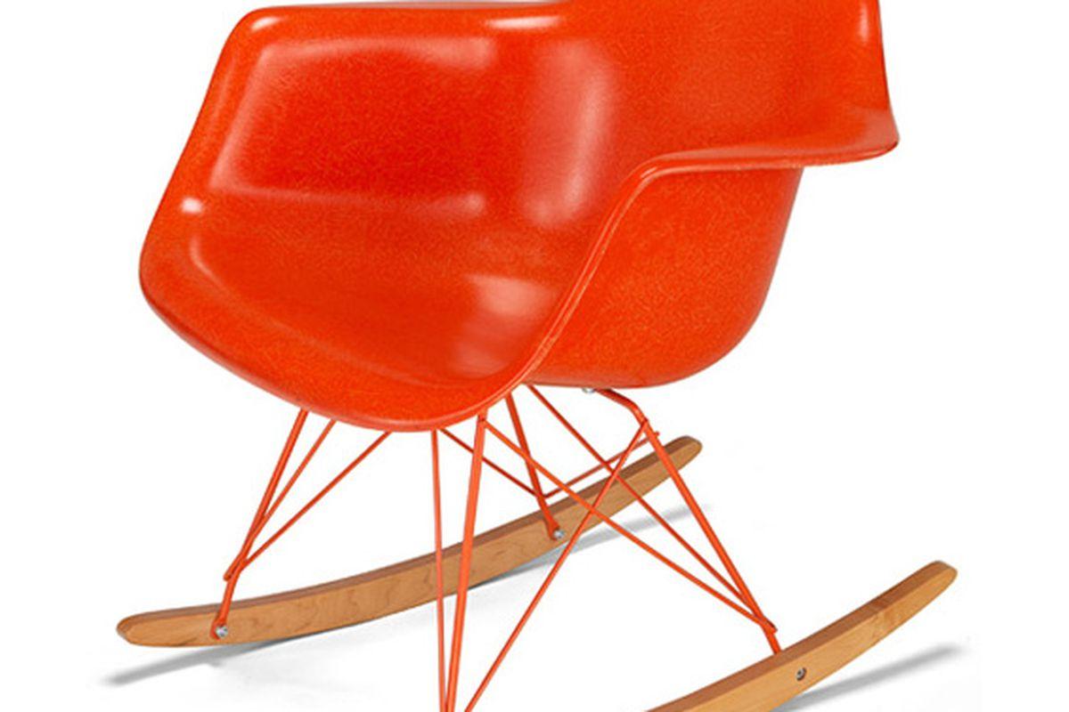 "Image via <a href=""http://modernica.net/fiberglass-arm-shell-rocker-orange-powder-coated-frame.html"">Modernica</a>"