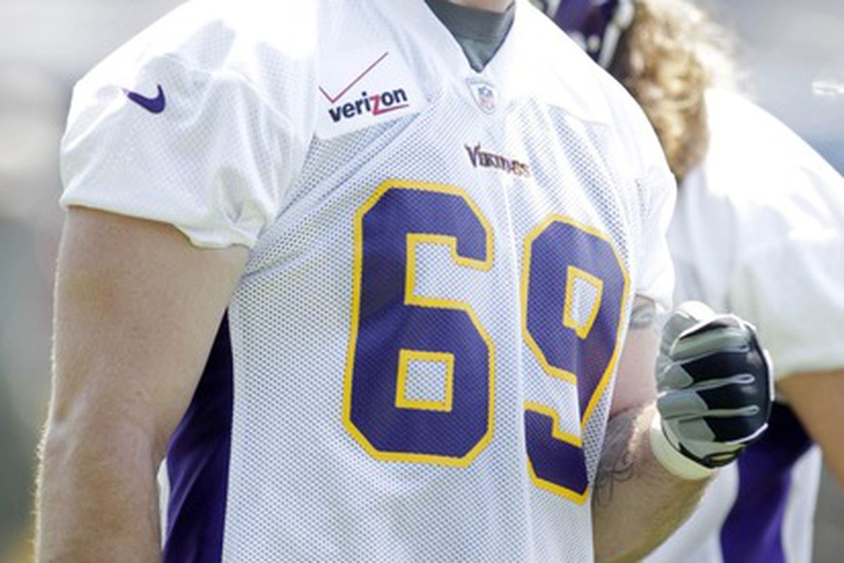 Jun 19, 2012; Eden Prairie, MN, USA; Minnesota Vikings defensive end Jared Allen (69) laughs at Vikings minicamp at Winter Park. Mandatory Credit: Bruce Kluckhohn-US PRESSWIRE