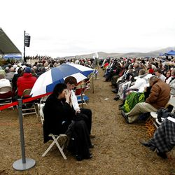 Thousands sit in the rain Saturday, Oct. 8, 2011 listening to the speakers prior to the ground breaking for the Payson Temple.