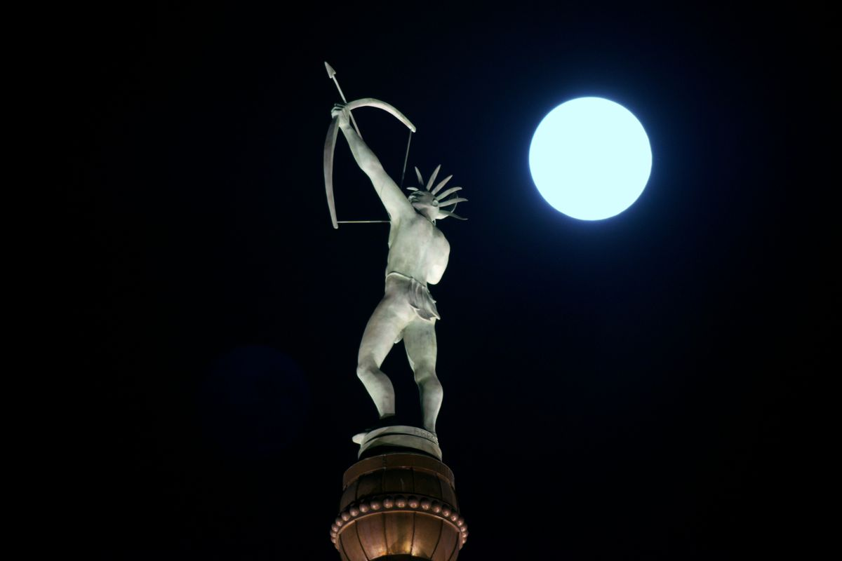 Supermoon rises at the Kansas State Capitol Building in Topeka