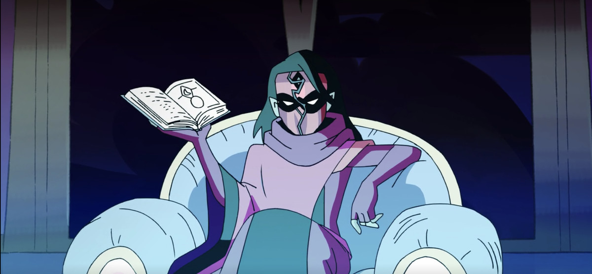 Shadow Weaver lounges in a plush armchair. She holds a book in her right hand, legs crossed. She wears a long red gown, her face shielded by a red mask, a lick of dark hair falling slightly over her eyes. She looks deeply and utterly bored.
