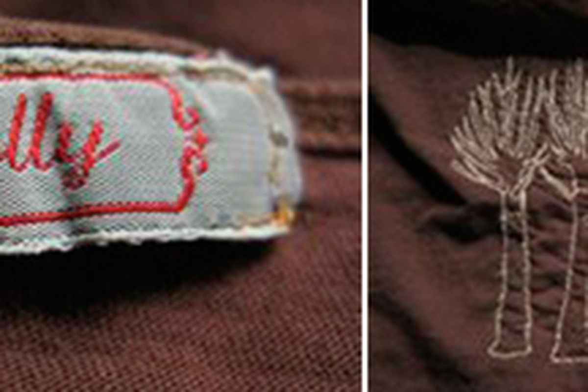 Left, the designer's label; right, an example of the embroidery on the shirt