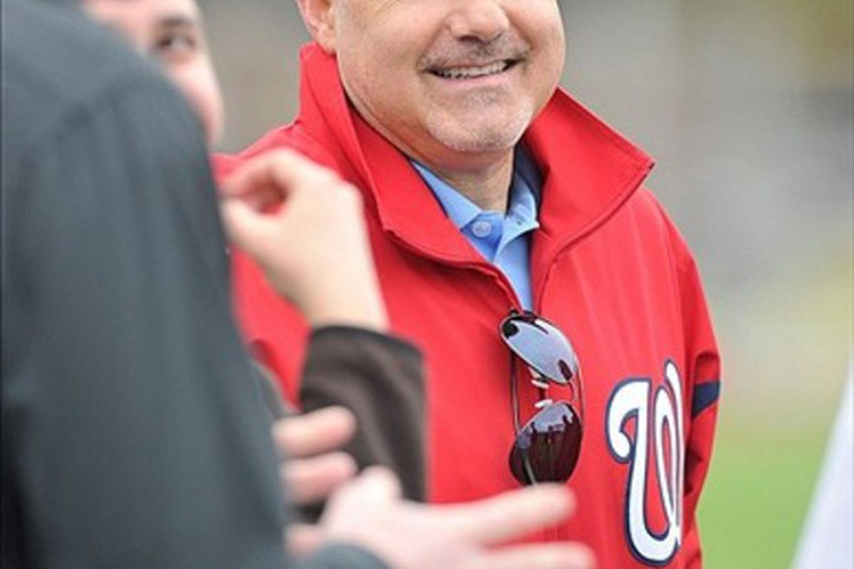 February 26, 2012; Melbourne, FL, USA;   Washington Nationals general manager Mike Rizzo during today's spring training workouts at Space Coast Stadium. Mandatory Credit: Brad Barr-US PRESSWIRE